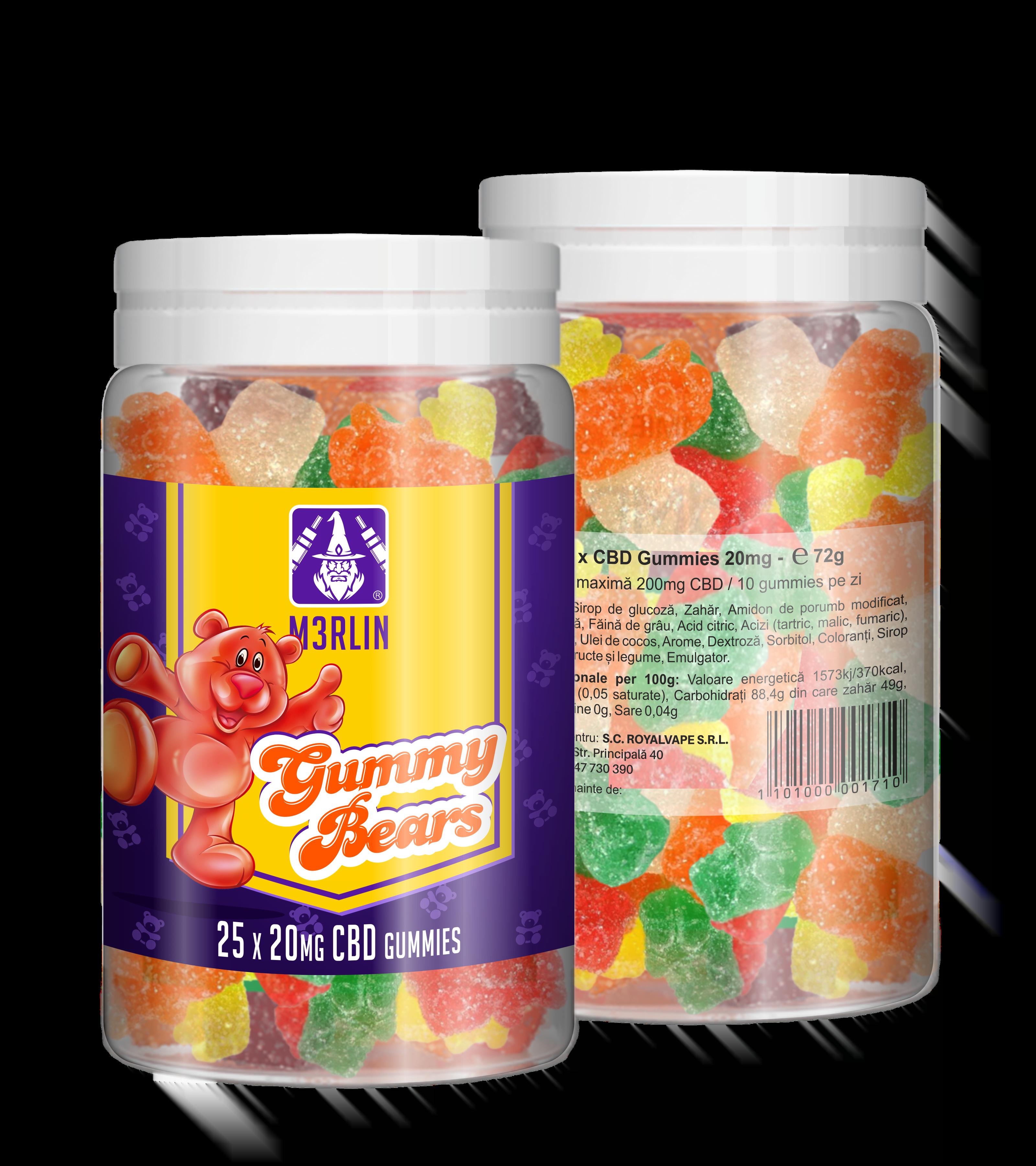 M3RLIN Gummy Bears CBD 20mg